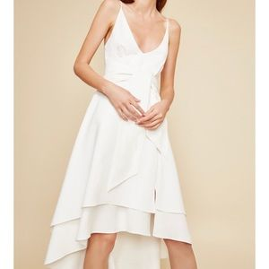 1187 revolve c/meo hi low tie front dress
